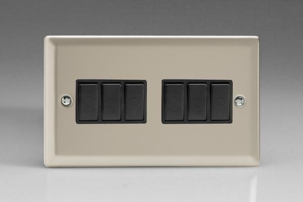 XN96B Varilight 6 Gang 1or 2 Way 10 Amp Switch, Classic Satin Chrome (Double Plate)