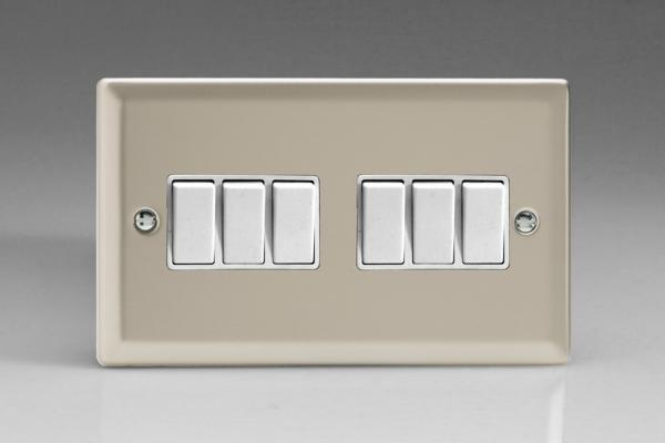 XN96W Varilight 6 Gang 1or 2 Way 10 Amp Switch, Classic Satin Chrome (Double Plate)