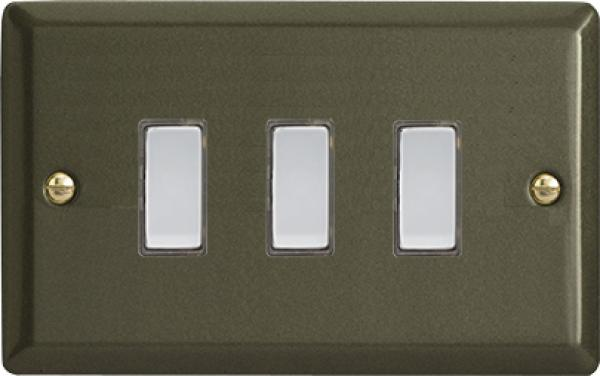 Varilight V-Pro Multi Point Tactile Touch Slave (MP Slave) Series 3 Gang Unit for use with V-Pro Multi Point Remote Master Dimmers