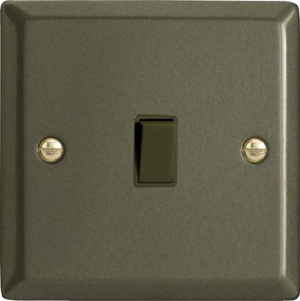 Varilight 1 Gang 10 Amp Push-to-make, Bell Push, Retractive Black Switch Classic Graphite 21
