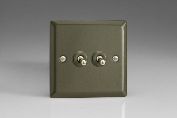 XPT2 Varilight 2 Gang (Double), 1 or 2 Way 10 Amp Classic Toggle Switch, Classic Graphite 21