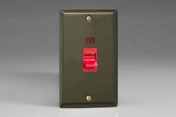XP45N Varilight 45 Amp Cooker Switch with Neon (Vertical Double Size), Classic Graphite 21