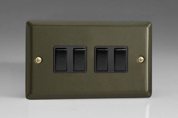 XP9B Varilight 4 Gang (Quad), 1or 2 Way 10 Amp Switch, Classic Graphite 21 (Double Plate)