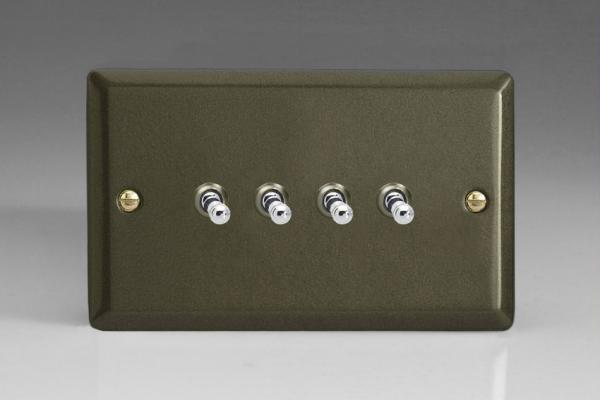 XPT9 Varilight 4 Gang (Quad), 1or 2 Way 10 Amp Classic Toggle Switch, Classic Graphite 21 (Double Plate)