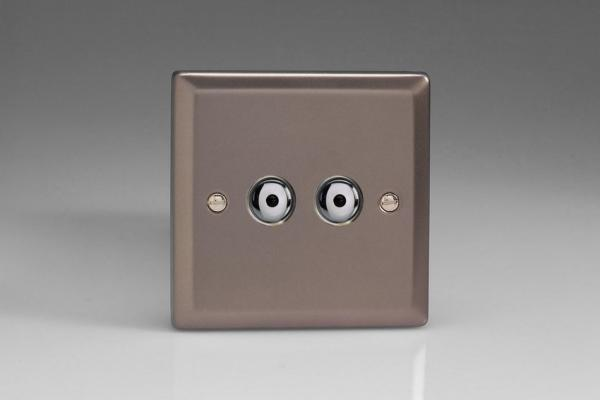 IRI402M Varilight 2 Gang, 1 or 2 Way or Multi-way 2x400 Watt Touch/Remote Master Dimmer, Classic Pewter