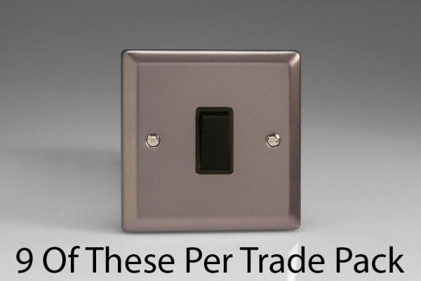 XR1B-P9   This is a Trade Pack item: 9 Units per box.  Varilight 1 Gang (Single), 1 or 2 Way 10 Amp Switch, Pewter