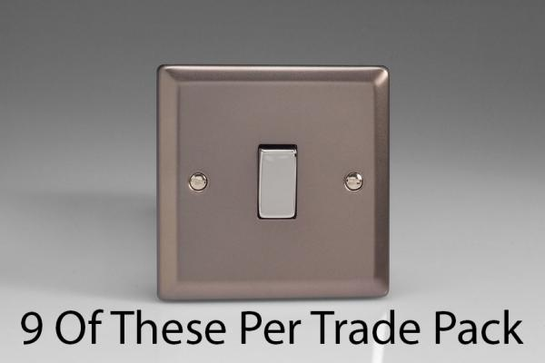 XR1D-P9   This is a Trade Pack item: 9 Units per box.  Varilight 1 Gang (Single), 1 or 2 Way 10 Amp Switch, Pewter
