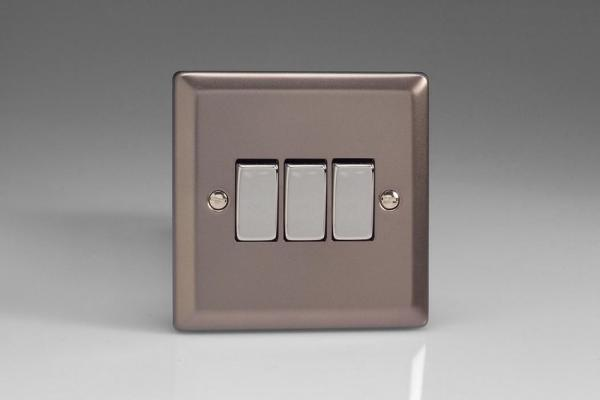 Varilight 3 Gang 10 Amp Switch Classic Pewter
