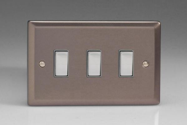 XR93D Varilight 3 Gang (Triple), 1or 2 Way 10 Amp Switch, Classic Pewter (Double Plate)