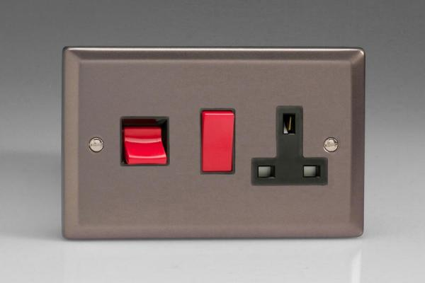 XR45PB Varilight 45 Amp Cooker Panel with 13 Amp Switched Socket (Horizontal Double Size), Classic Pewter