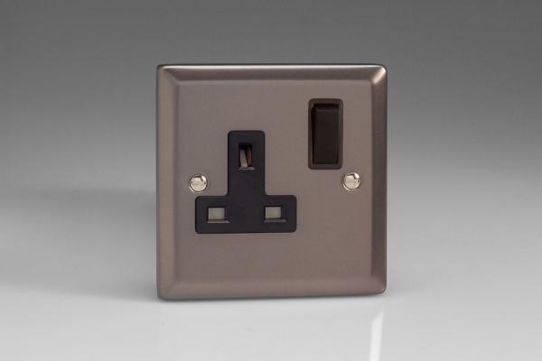 XR4B Varilight 1 Gang (Single), 13 Amp Switched Socket, Classic Pewter