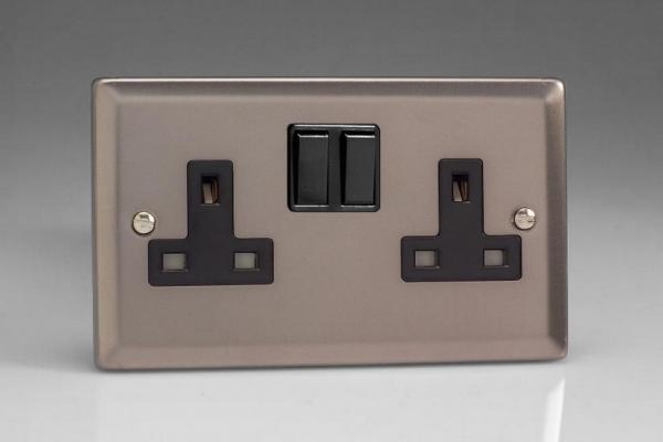 XR5B Varilight 2 Gang (Double), 13 Amp Switched Socket, Classic Pewter