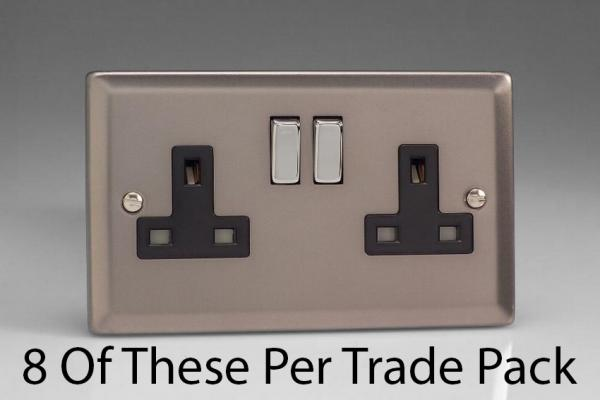 XR5DB-P8  This is a Trade Pack item: 8 Units per box. Varilight 2 Gang (Double), 13 Amp Switched Socket, Pewter