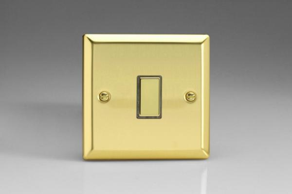 JVES001 Varilight V-Pro Series Eclique2  (Multi Point Remote), 1 Gang Tactile Touch Button Slave Unit for 2 way or Multi-way Circuits Only, Classic Victorian Polished Brass Effect