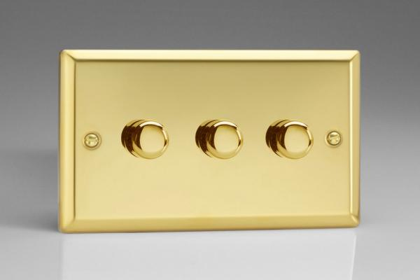 Varilight V-Pro Series 3 Gang 0-120W Trailing Edge LED Dimmer Victorian Brass