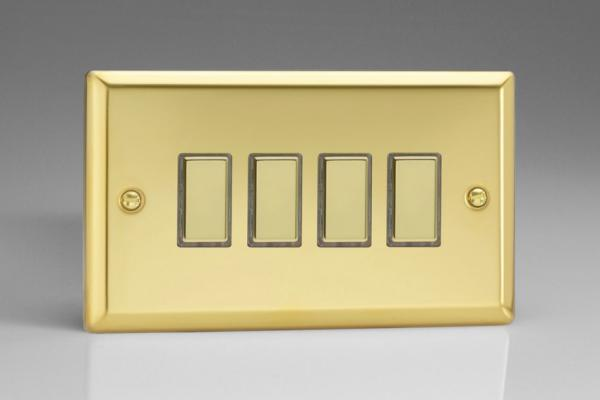 JVES004 Varilight V-Pro Series Eclique2, 4 Gang Tactile Touch Button Slave Unit for 2 way or Multi-way Circuits Only, Classic Victorian Polished Brass Effect