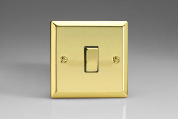 XV20D Varilight 1 Gang (Single), 1 Way 20 Amp Switch, Classic Victorian Polished Brass Effect