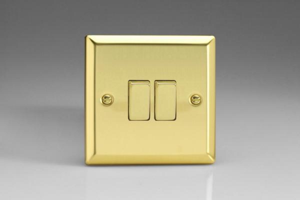 XV71D Varilight 2 Gang (Double): 1 Gang (3 Way) Intermediate and 1 Gang (1 or 2 Way) 10 Amp Switch, Classic Victorian Polished Brass Effect