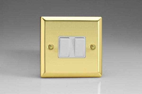 XV71W Varilight 2 Gang (Double): 1 Gang (3 Way) Intermediate and 1 Gang (1 or 2 Way) 10 Amp Switch, Classic Victorian Polished Brass Effect