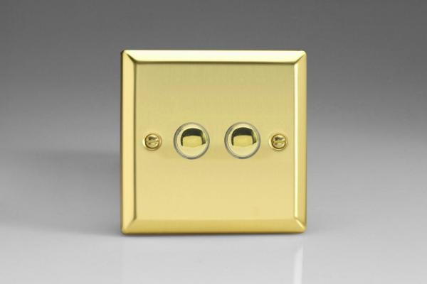XVM2 Varilight 2 Gang (Double), 1 Way, 6 Amp Impulse Retractive/Momentary Switch (Push To Make), Classic Victorian Polished Brass Effect