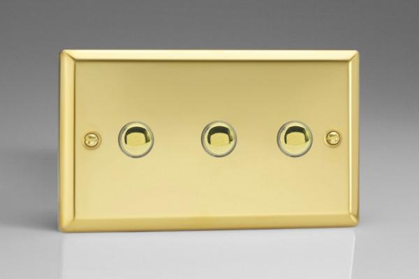 XVM3 Varilight 3 Gang (Triple), 1 Way, 6 Amp Impulse Retractive/Momentary Switch (Push To Make), Classic Victorian Polished Brass Effect