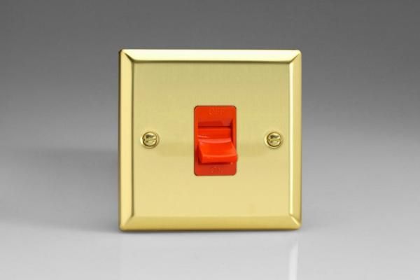 XV45S Varilight 45 Amp Cooker Switch (Single Size), Classic Victorian Polished Brass Effect