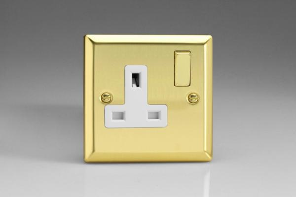 XV4DW Varilight 1 Gang (Single), 13 Amp Switched Socket, Classic Victorian Polished Brass Effect