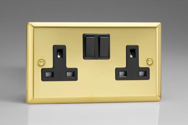 XV5B Varilight 2 Gang (Double), 13 Amp Switched Socket, Classic Victorian Polished Brass Effect