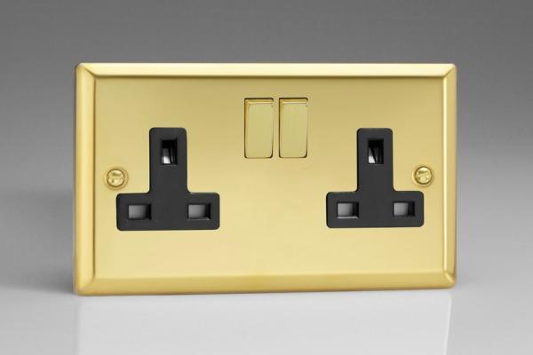 XV5DB Varilight 2 Gang (Double), 13 Amp Switched Socket, Classic Victorian Polished Brass Effect