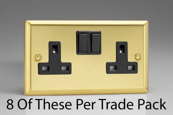 XV5B-P8  This is a Trade Pack item: 8 Units per box. Varilight 2 Gang (Double), 13 Amp Switched Socket, Victorian Polished Brass Effect