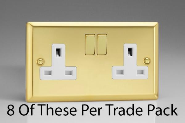 XV5DW-P8  This is a Trade Pack item: 8 Units per box. Varilight 2 Gang (Double), 13 Amp Switched Socket, Victorian Polished Brass Effect