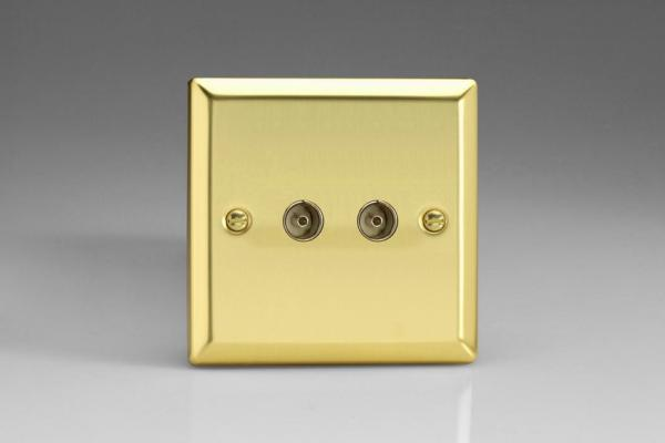 XV88 Varilight 2 Gang (Double), Co-axial TV Socket, Classic Victorian Polished Brass Effect