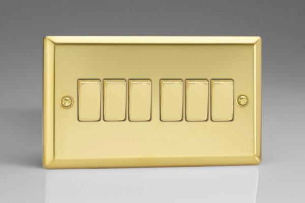 XV96D Varilight 6 Gang 1or 2 Way 10 Amp Switch, Classic Victorian Polished Brass Effect (Double Plate)