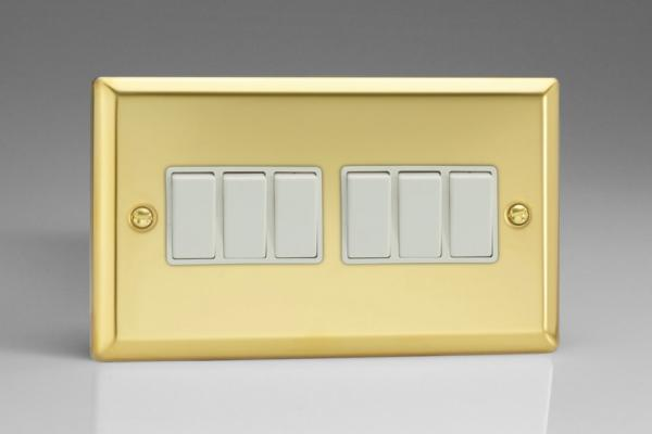 XV96W Varilight 6 Gang 1or 2 Way 10 Amp Switch, Classic Victorian Polished Brass Effect (Double Plate)