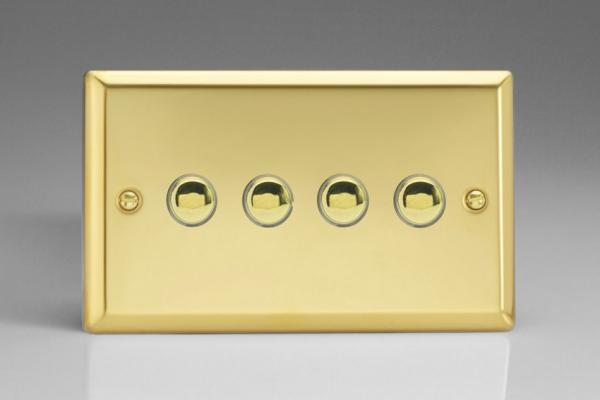 XVM4 Varilight 4 Gang (Quad), 1 Way, 6 Amp  Retractive/Momentary Switch (Push To Make), Classic Victorian Polished Brass Effect
