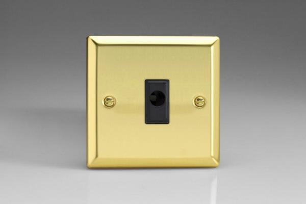 XVFOB Varilight Flex Outlet Plate with Cable Clamp. Black insert, Classic Victorian Polished Brass Effect