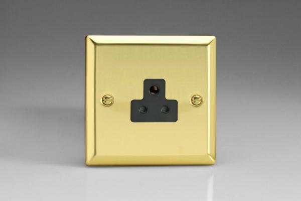 XVRP2AB Varilight 1 Gang (Single), 2 Amp Round Pin Socket, Classic Victorian Polished Brass Effect