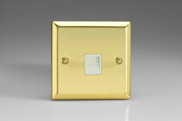 XVTSW Varilight 1 Gang (Single), Telephone Slave Socket, Classic Victorian Polished Brass Effect