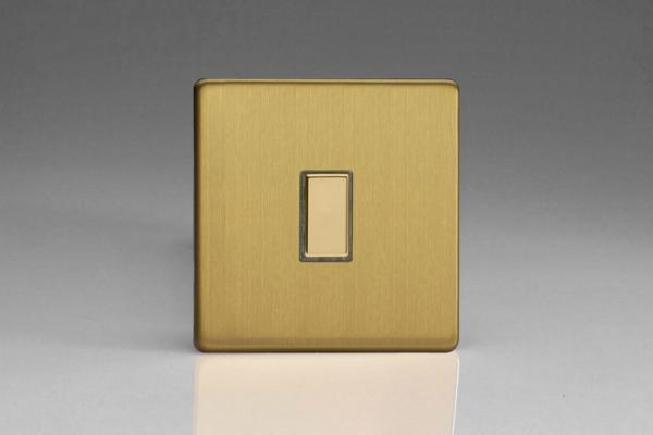 JDBES001S - Varilight V-Pro Series Eclique2  (Multi Point Remote), 1 Gang Tactile Touch Button Slave Unit for 2 way or Multi-way Circuits Only, Dimension Screwless Brushed Brass
