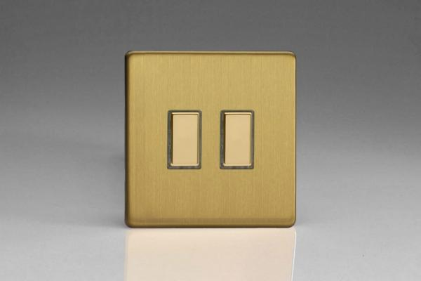 JDBES002S - Varilight V-Pro Series Eclique2  (Multi Point Remote), 2 Gang Tactile Touch Button Slave Unit for 2 way or Multi-way Circuits Only, Dimension Screwless Brushed Brass