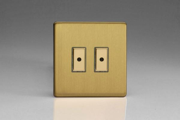 Varilight V-Pro Multi Point Remote (MPR or Eclique2) Series 2 Gang 0-100 Watts Multi Point Remote Master LED Dimmer Screwless Brushed Brass
