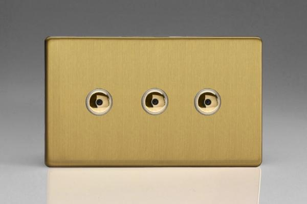 IDBI403MS Varilight 3 Gang, 1 or 2 Way or Multi-way 3x400 Watt Touch/Remote Master Dimmer, Dimension Screwless Brushed Brass Effect