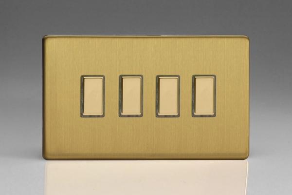 JDBES004S - Varilight V-Pro Series Eclique2  (Multi Point Remote), 4 Gang Tactile Touch Button Slave Unit for 2 way or Multi-way Circuits Only, Dimension Screwless Brushed Brass