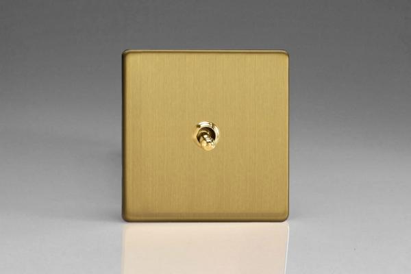 XDBT7S Varilight 1 Gang (Single), (3 Way) intermediate Classic Toggle Switch, Dimension Screwless Brushed Brass Effect