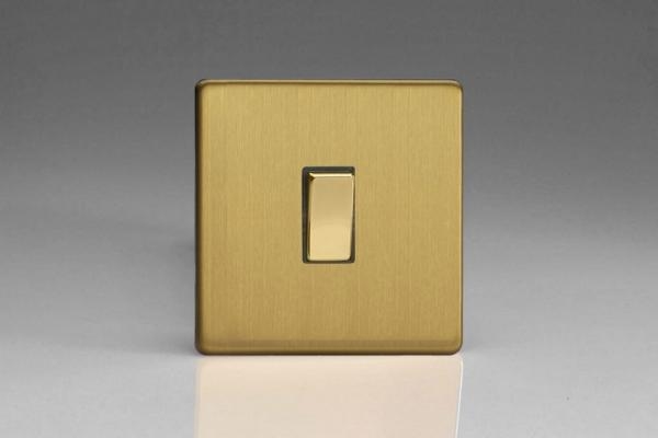 XDB20DS Varilight 1 Gang (Single), 1 Way 20 Amp Switch, Dimension Screwless Brushed Brass Effect