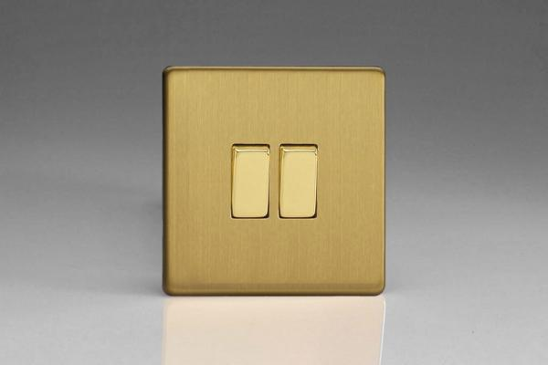 XDB71S Varilight 2 Gang (Double): 1 Gang (3 Way) Intermediate and 1 Gang (1 or 2 Way) 10 Amp Switch, Dimension Screwless Brushed Brass Effect