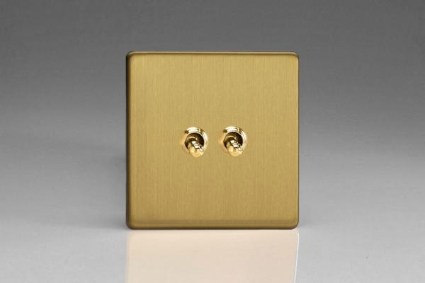 XDBT2S Varilight 2 Gang (Double), 1 or 2 Way 10 Amp Classic Toggle Switch, Dimension Screwless Brushed Brass Effect