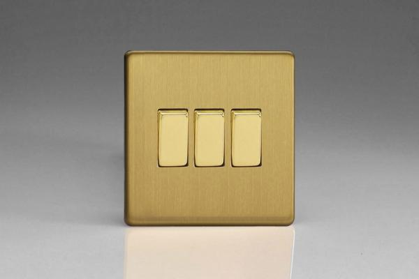 XDB3S Varilight 3 Gang (Triple), 1 or 2 Way 10 Amp Switch, Dimension Screwless Brushed Brass Effect