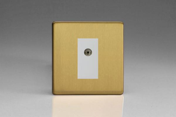 XDBG8ISOWS Varilight 2 Gang (Double), Isolated Co-axial TV Socket, Dimension Screwless Brushed Brass Effect
