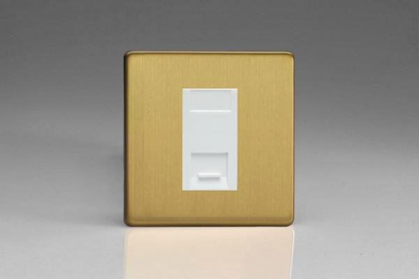 XDBGTMWS Varilight 1 Gang (Single), Telephone Master Socket, Dimension Screwless Brushed Brass Effect Finish with White insert